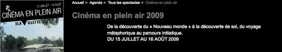Parc de la Villette | Cinéma en plein air 2009